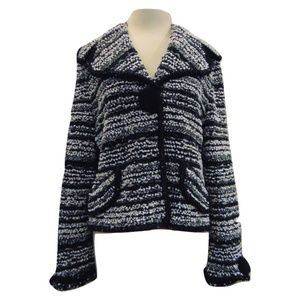 Escada knit jacket cardigan white and black Sz 10